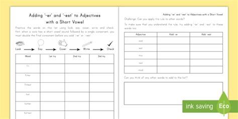 Spelling Practice Adding Er And Est To Adjectives Worksheet