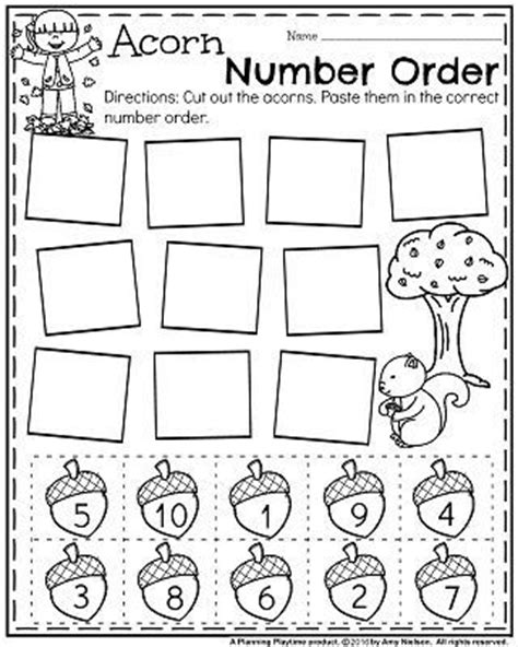 november preschool worksheets cut and paste fall and