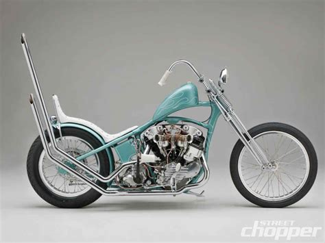 Light Blue Knucklehead Hardtail Custom With White Seat