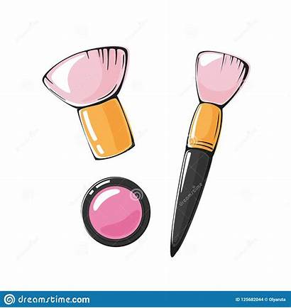 Makeup Blush Brush Illustration Vector Pink Isolated