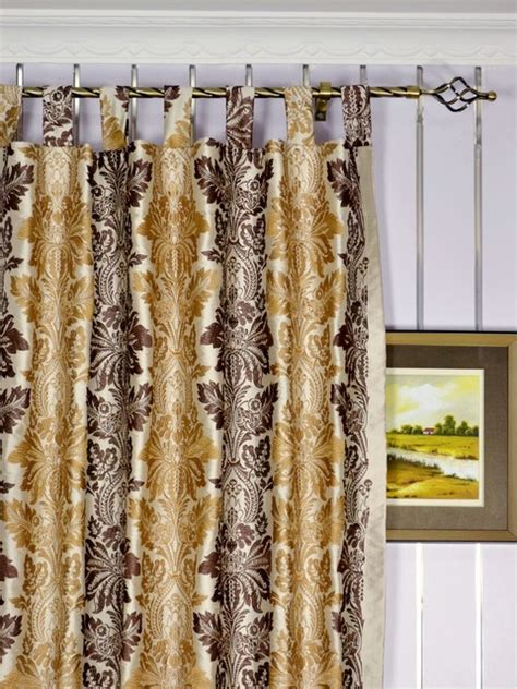 brown striped damask dupioni silk curtains traditional