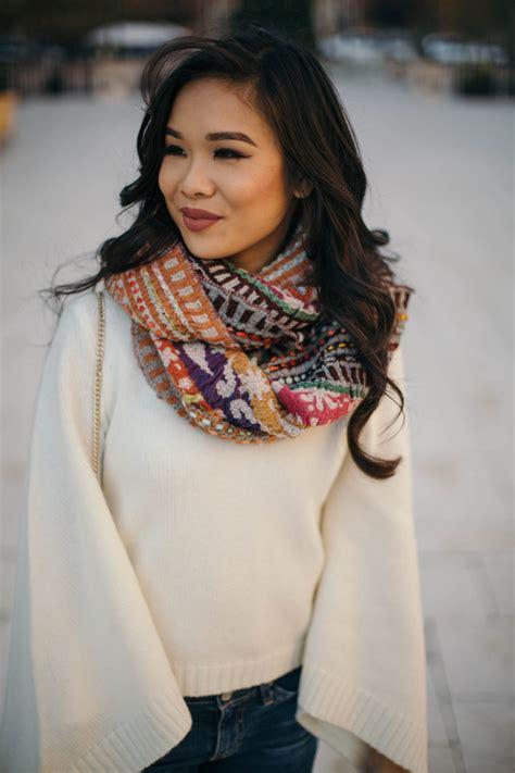 staying warm cashmere turtleneck printed scarf