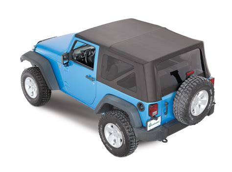 jeep wrangler 2 door soft top mopar complete cable style sunrider soft top for 07 18