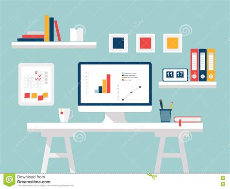 home design desktop home office flat design vector illustration of modern home office interior with designer