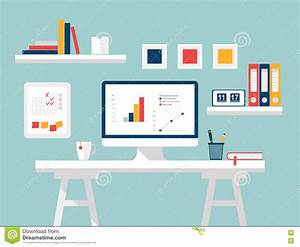 Home Office. Flat Design Vector Illustration Of Modern ...