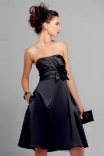 and black bridesmaid dresses black strapless knee length sash floral chiffon satin bridesmaid dress prlog