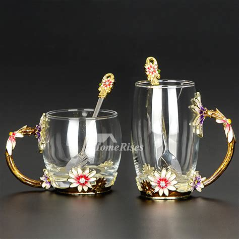 glass coffee cups set enamel carved cafe  mug unique