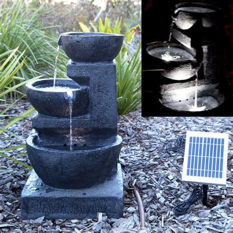 solar panel powered 3 tiers water feature led
