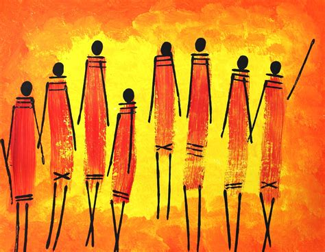 maasai warriors acrylic painting project  children