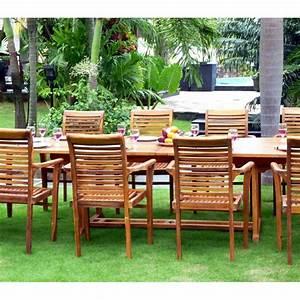 Fauteuil Salon De Jardin : salon de jardin grande table et fauteuils en teck huil wood en stock ~ Teatrodelosmanantiales.com Idées de Décoration