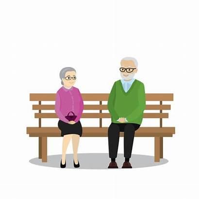 Sitting Bench Cartoon Vector Pensioners Illustration Illustrations