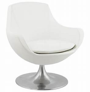 Fauteuil Design Blanc : fauteuil blanc design pivotant pied alu formula ~ Teatrodelosmanantiales.com Idées de Décoration