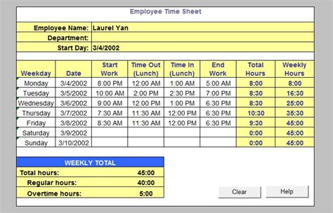 sample timesheet templates   excel