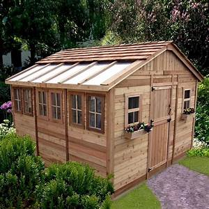 outdoor living today ssgs1212 12 ft x 12 ft cedar sunshed With garden sheds lowes