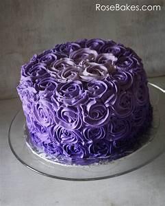 Purple Ombre Buttercream Roses Birthday Cake - Rose Bakes