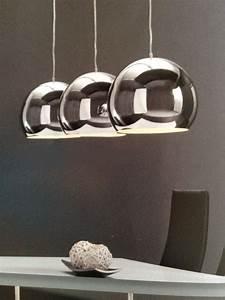 Große Deckenlampen Design : design pendelleuchte h ngeleuchte 3 x grosse silberkugel esstisch 28cm b120cm ebay ~ Sanjose-hotels-ca.com Haus und Dekorationen