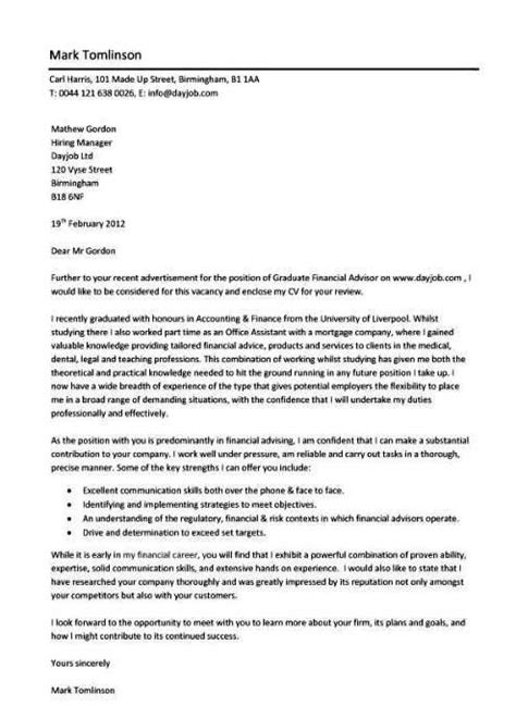 Sle Of A General Cover Letter by Resume Exle Image Graduate Exle Cover Letters