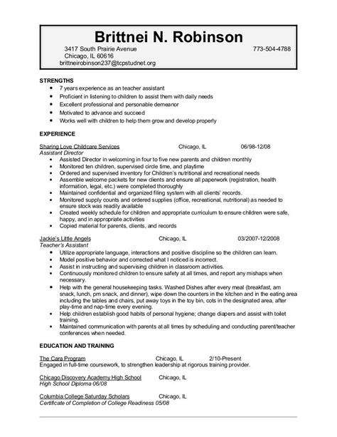 resume for child care background success