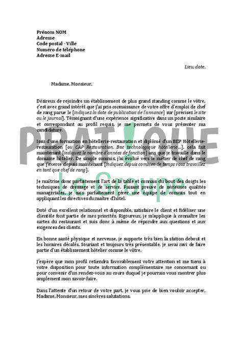 lettre de motivation chef de cuisine en restauration collective lettre de motivation pour un emploi de chef de rang