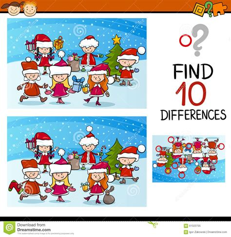 Xmas Differences Task For Kids Stock Vector Image 61023705