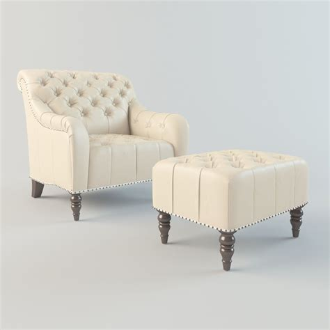 Leather Tufted Chair And Ottoman by Brady Tufted Leather Chair And Ottoman 3d Model Rigged