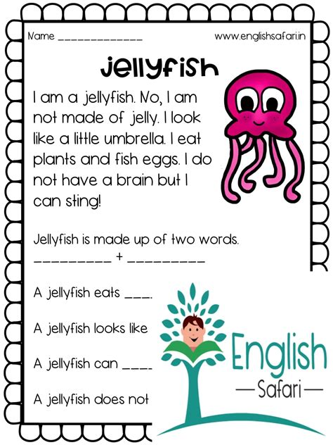 reading comprehension sea animals lesson planned