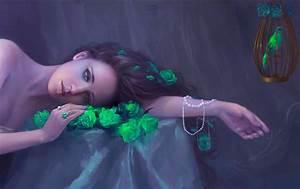 Lovely, Art, Photoshop, Roses, Wallpaper, Beautiful, Bird, Green, Woman, Girl, Cg, Digital