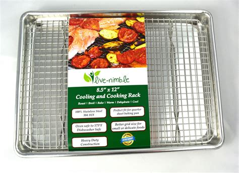 rack baking pan stainless steel cooking roasting wire racks oven cooling sheet heavy duty safe quarter broil perfect cook prime