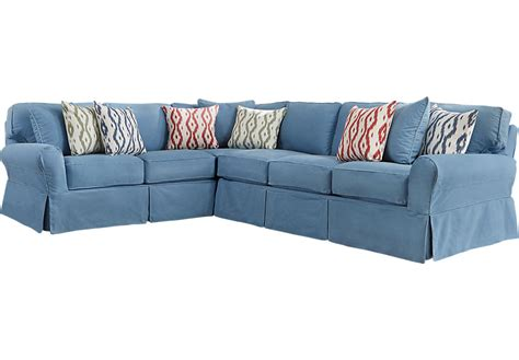 home beachside blue denim sofa home beachside ii blue 2 pc sectional
