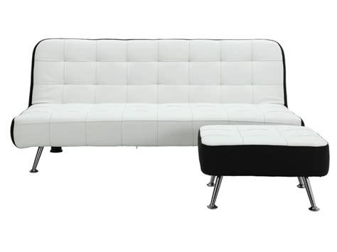 canap 233 clic clac et pouf en simili noir ou blanc murni