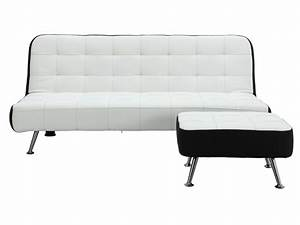 Clic Clac Blanc : canap clic clac et pouf en simili noir ou blanc murni ~ Teatrodelosmanantiales.com Idées de Décoration