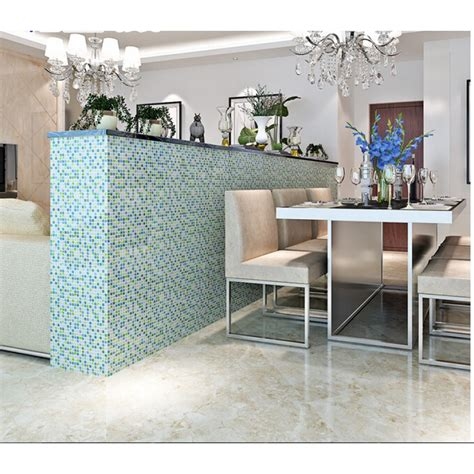 blue crystal glass tile backsplash ideas kitchen white glass mosaic bar table designs iridescent