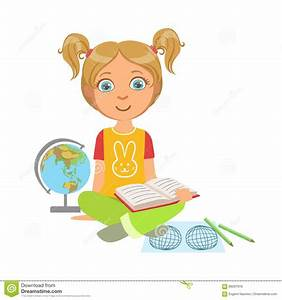Girl Reading A Geography Book, Part Of Kids Loving To Read ...
