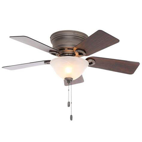 low profile ceiling fan with light hunter conroy 42 in indoor antique pewter low profile