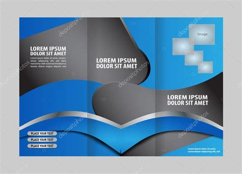 trifold design template empty vector empty trifold brochure template design with blue