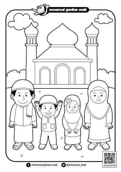 for gambar mewarnai anak muslim sholat mewarnai gambar