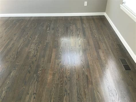 Red Oak Floor Stained Grey   TheFloors.Co