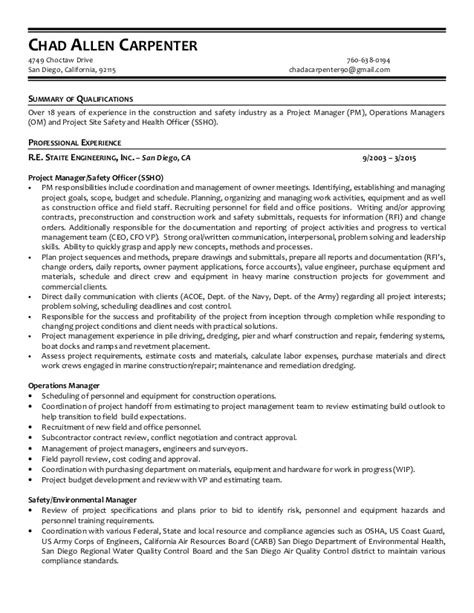 Carpenter Resume Summary by Chad Carpenter Resume
