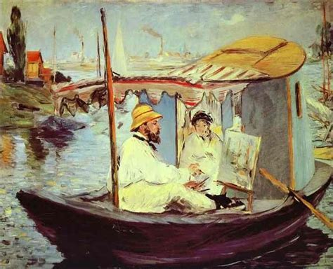 Manet Monet In His Studio Boat by Claude Monet Artble