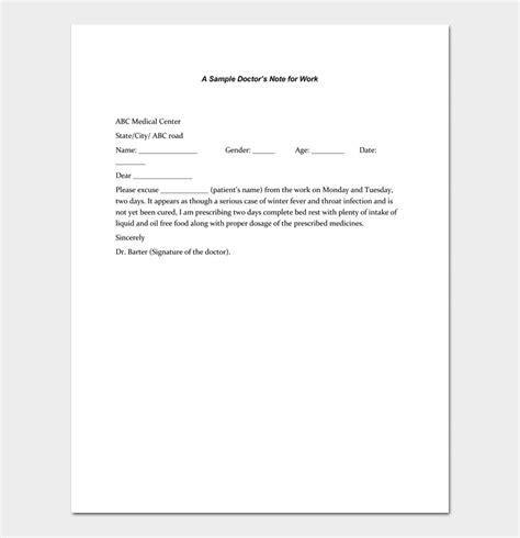 Doctors Note Template Pdf   Doctor Note Template Pdf