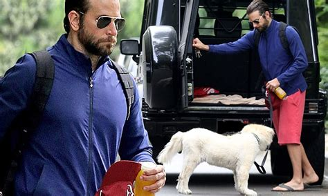 bradley cooper  pensive   takes dog charlotte   stroll  los angeles daily mail