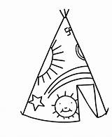 Teepee Coloring Simple Pages Tent Drawing Sheets Objects Printable Clipart Cesar Chavez Tipi Easy Native Ten Commandments American Fleur Lis sketch template