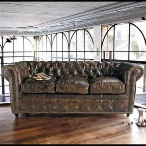 Maison Du Monde Chesterfield : canap vintage 3 places en cuir capitonn choses ~ Teatrodelosmanantiales.com Idées de Décoration
