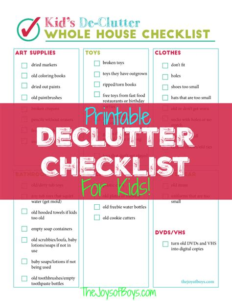 Printable Declutter Checklist For Kid's Clutter
