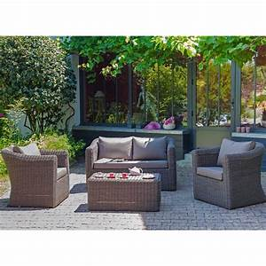 Salon Jardin Resine Tressée : salon de jardin 4 places belem en aluminium et r sine ~ Premium-room.com Idées de Décoration