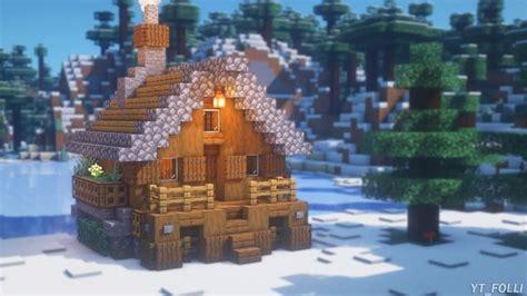 minecraft   build  winter cottage survival winter cottage tutorial   minecraft