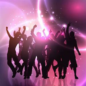 Group of people dancing on abstract lights background ...