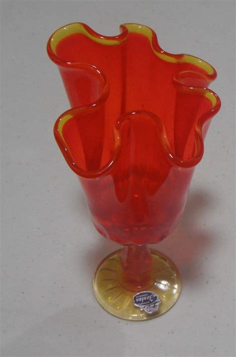 Orange Vases And Bowls by Vintage Fenton Amberina Thumbprint Footed Swung