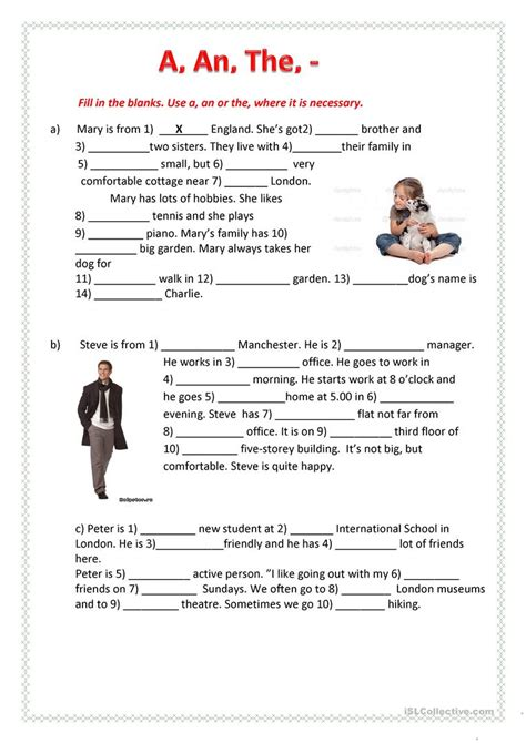 a an the worksheet free esl printable worksheets made by teachers
