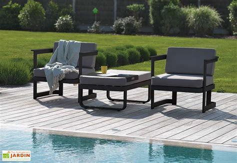 Salon de Jardin en Aluminium Barcelona  1 Canapu00e9 + 2 Fts + 1 Table Basse - DCB Garden